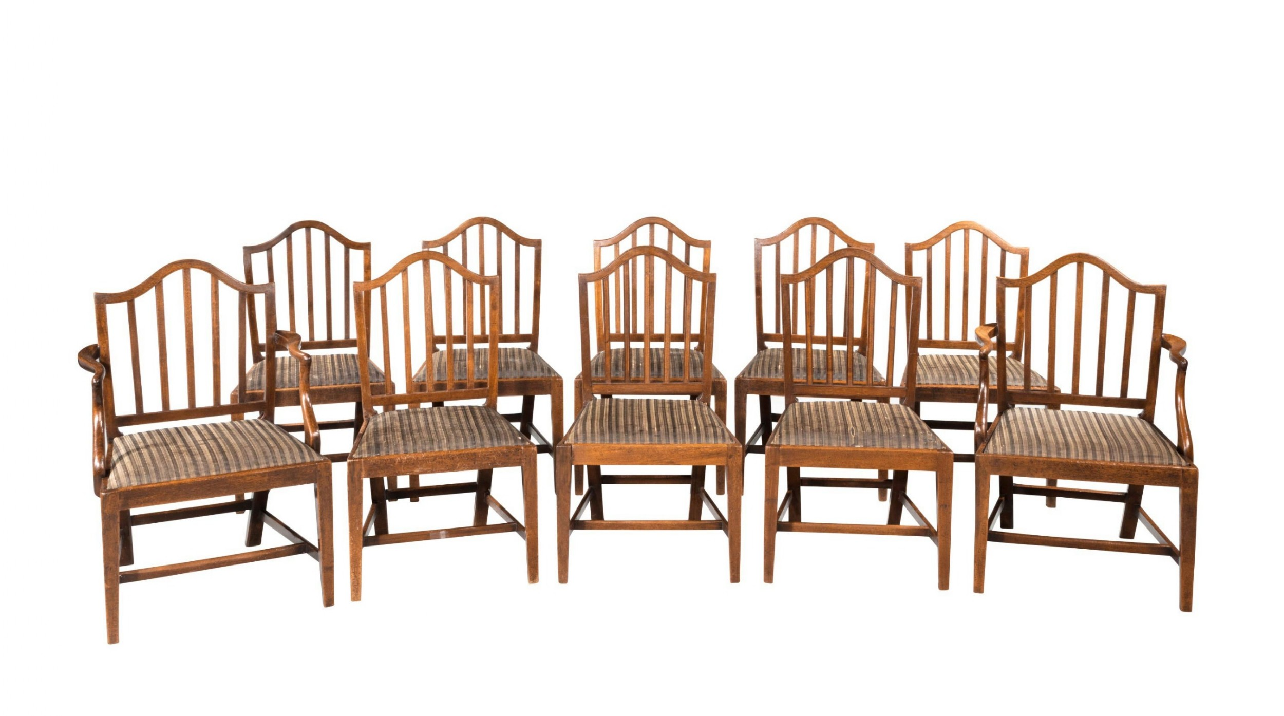 set of ten eight plus two george iii period mahogany chairs