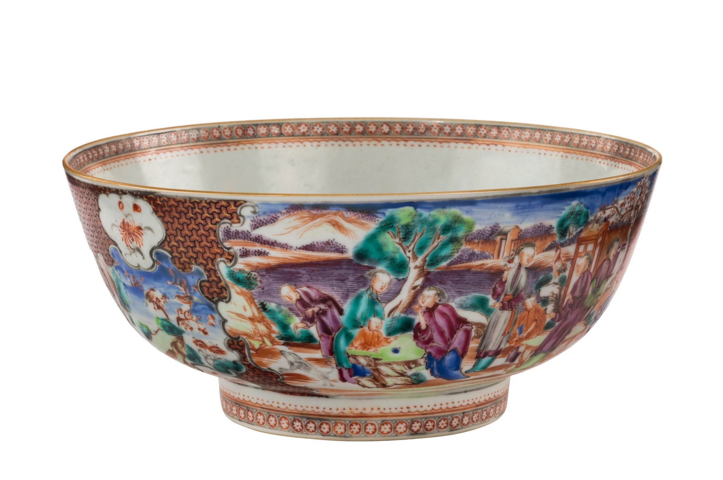 late 18th century oriental porcelain bowl with footed rim