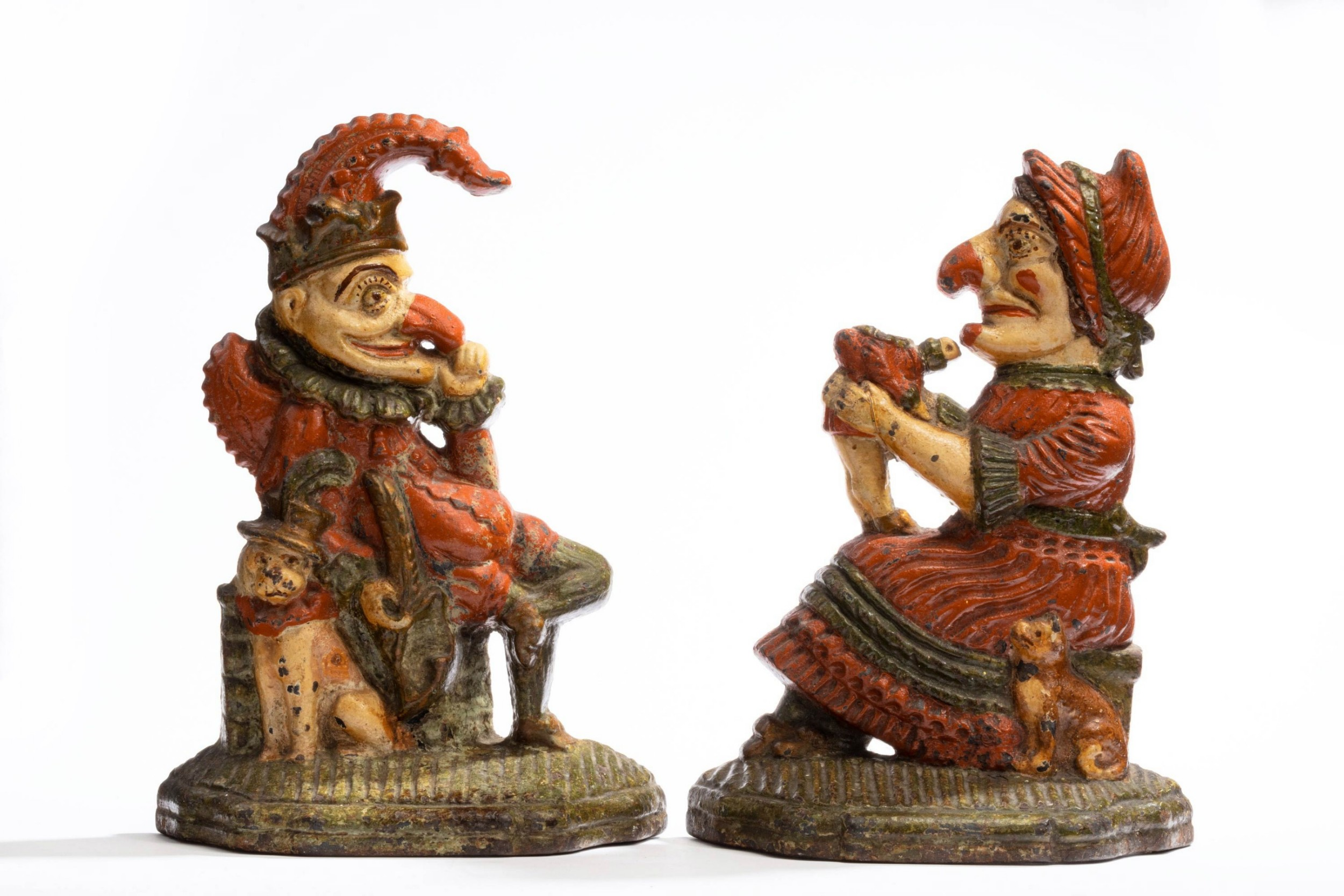 pair of coalbrookdale punch and judy doorstops