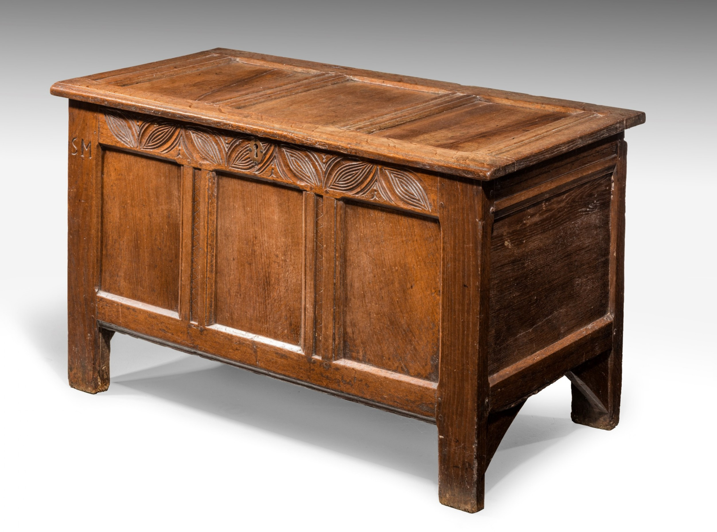early 18th century oak three panelled kist coffer