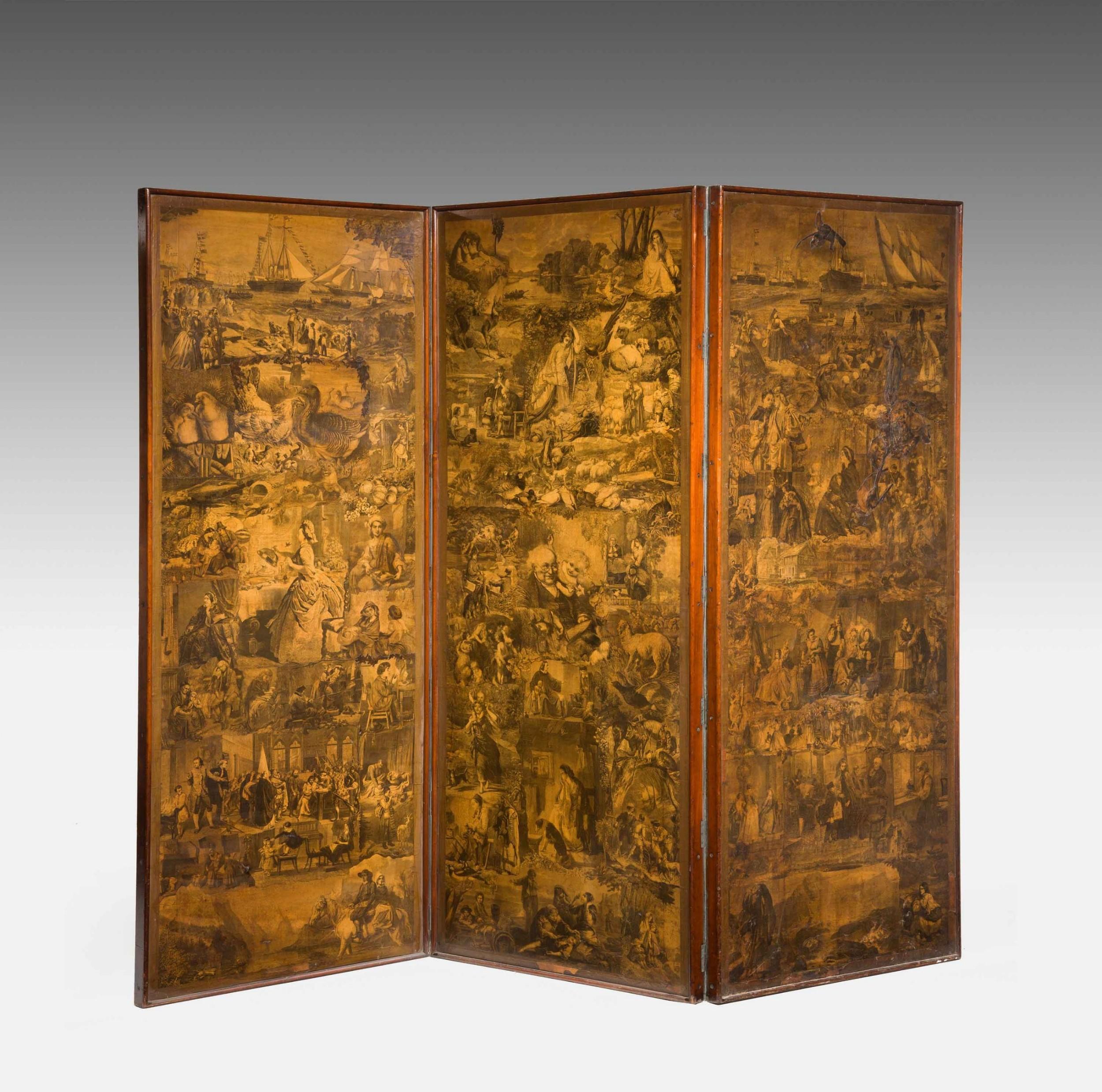 good 19th century three fold mahogany screen