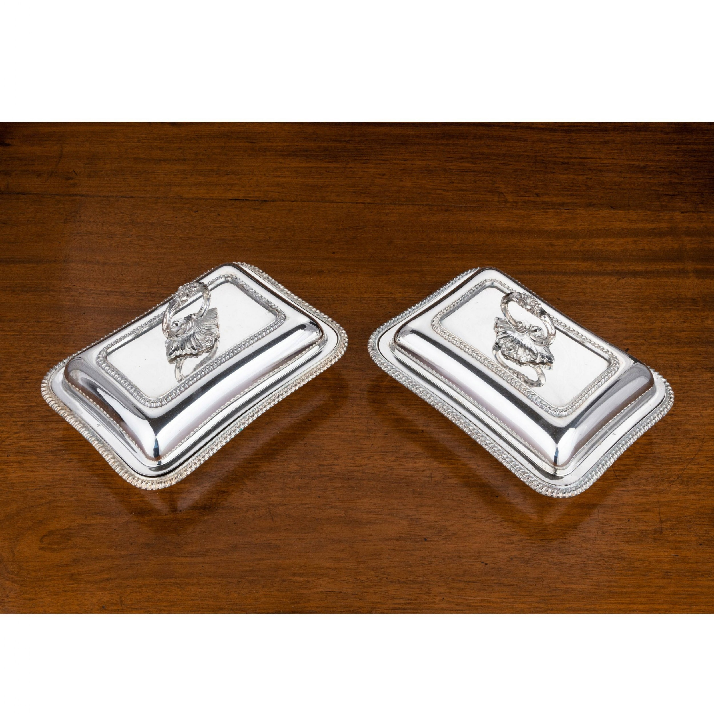 a pair of early 20th century rectangular silver plated entre dishes