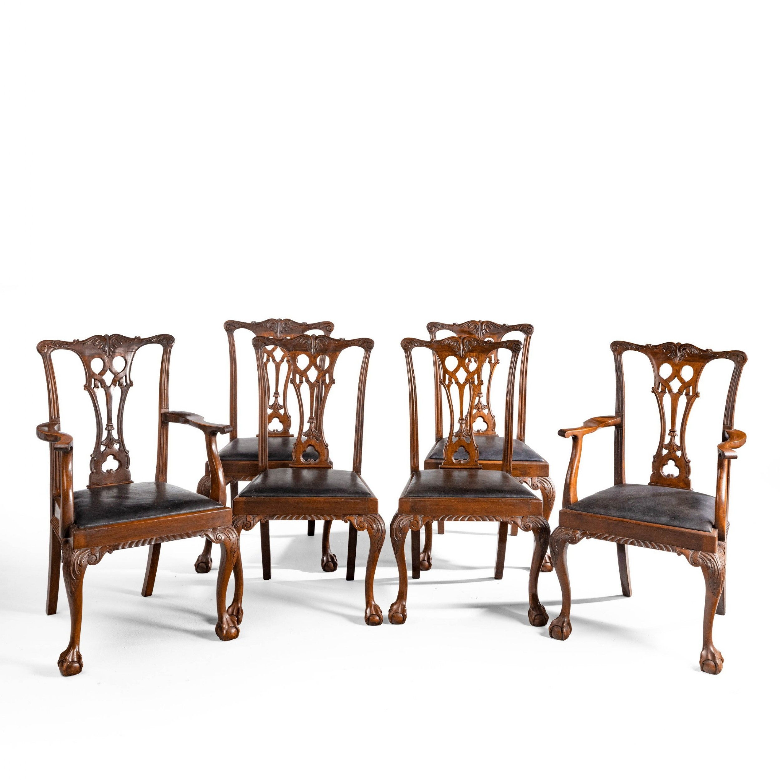 a set of 6 42 early 20th century dining chairs of chippendale design