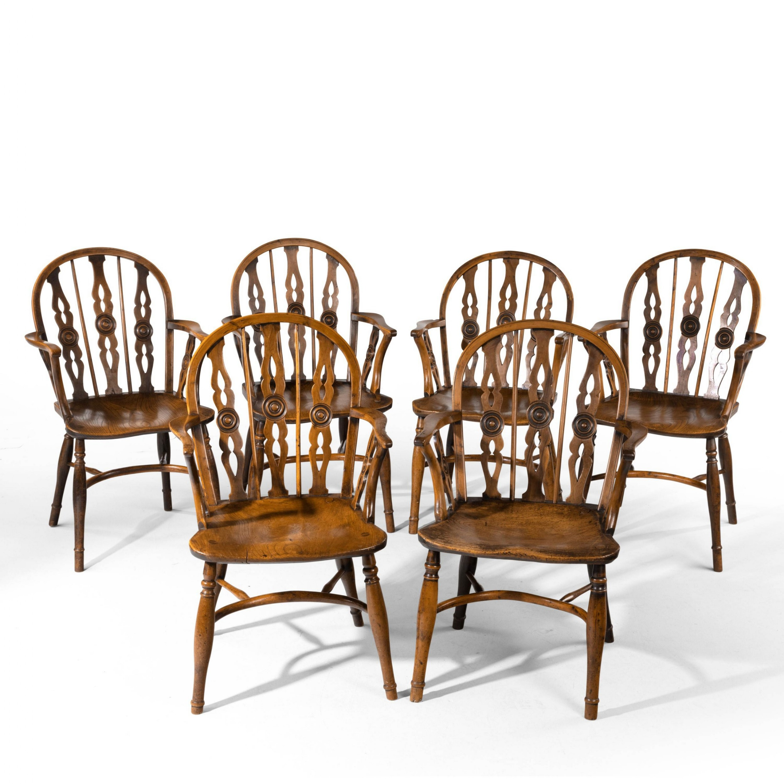 an attractive matched set of six early 19th century thames valley yew tree chairs