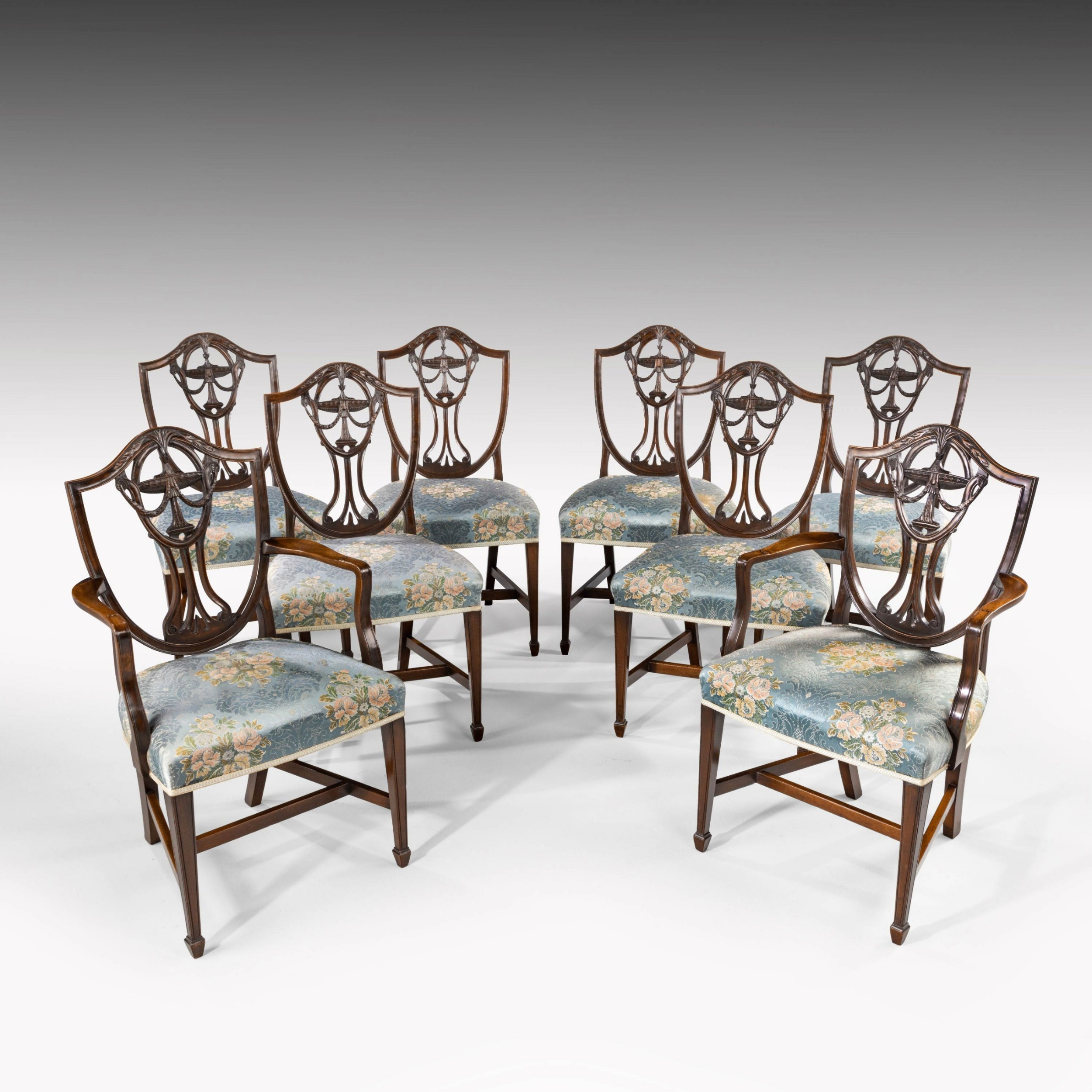 an elegant set of 8 62 early 20th century classical hepplewhite chairs