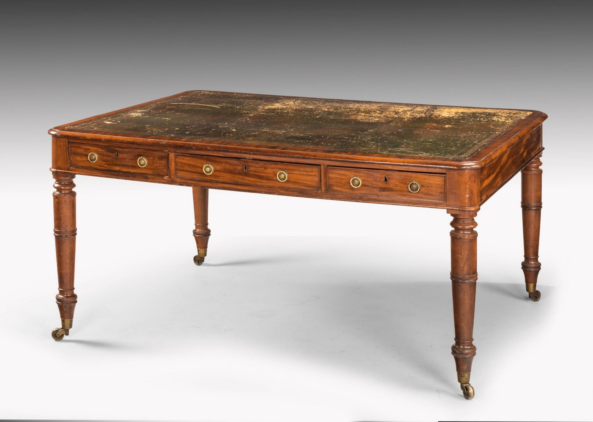 late regency period mahogany six drawer library table