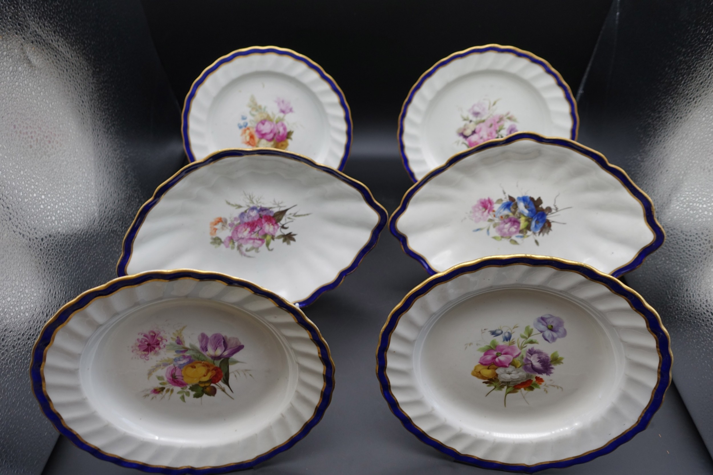 a fine set of 6 late 18th century derby plates painted by william billingsley