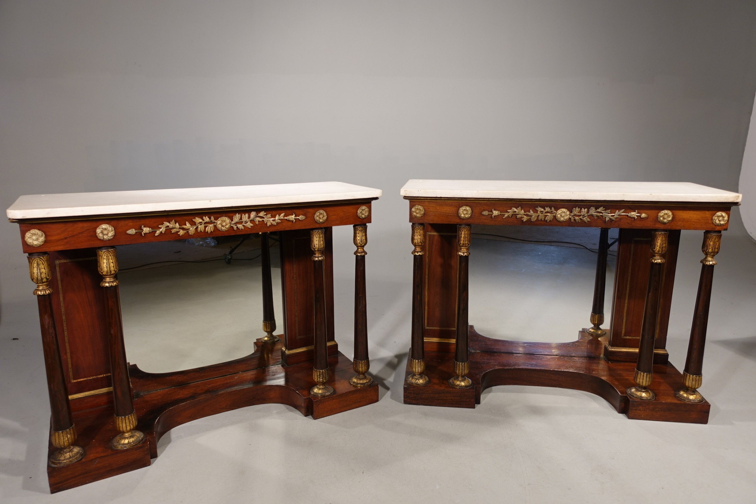 a very fine pair of regency period rosewood side cabinets