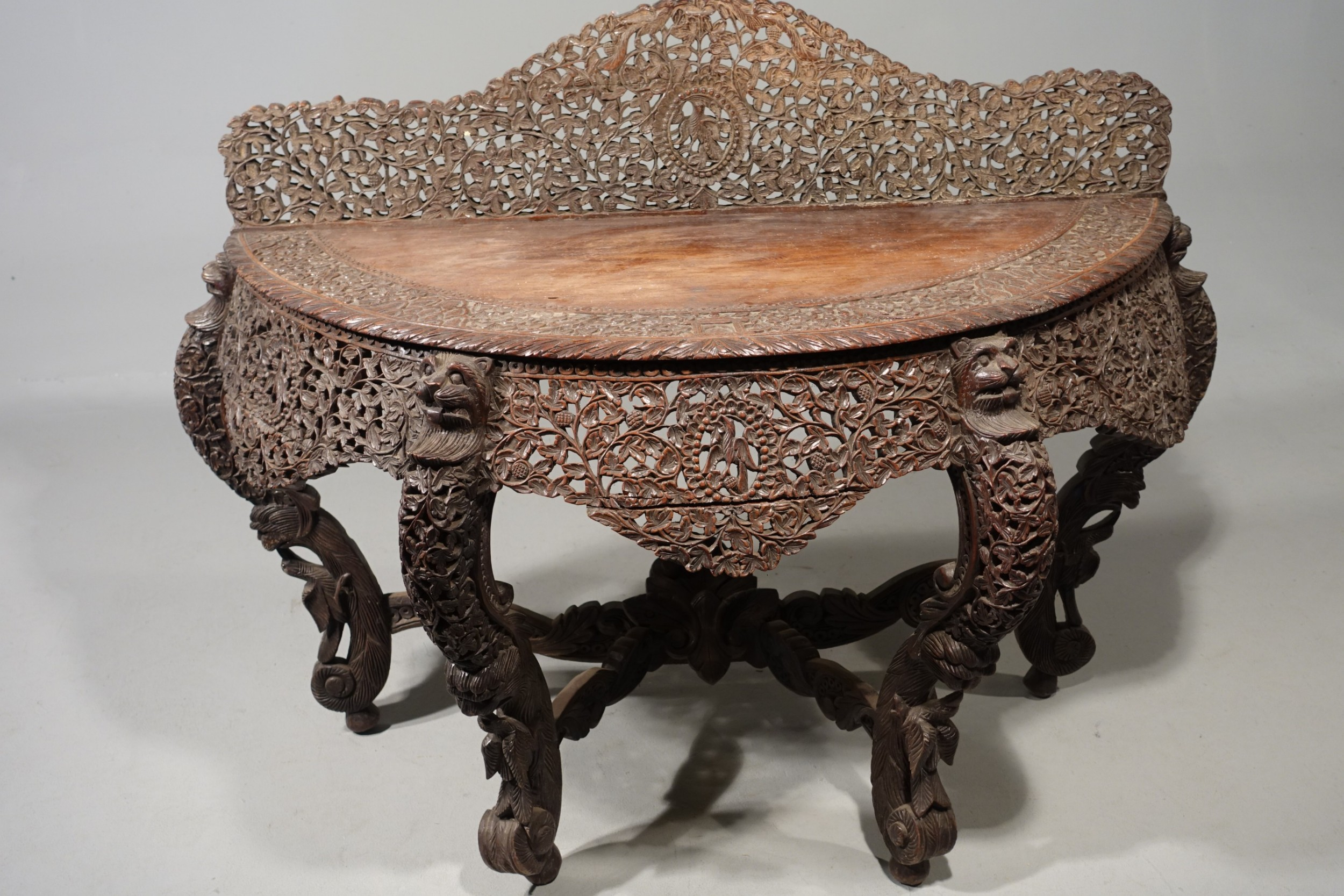 an outstanding and elaborate late 19th century oriental demilune table