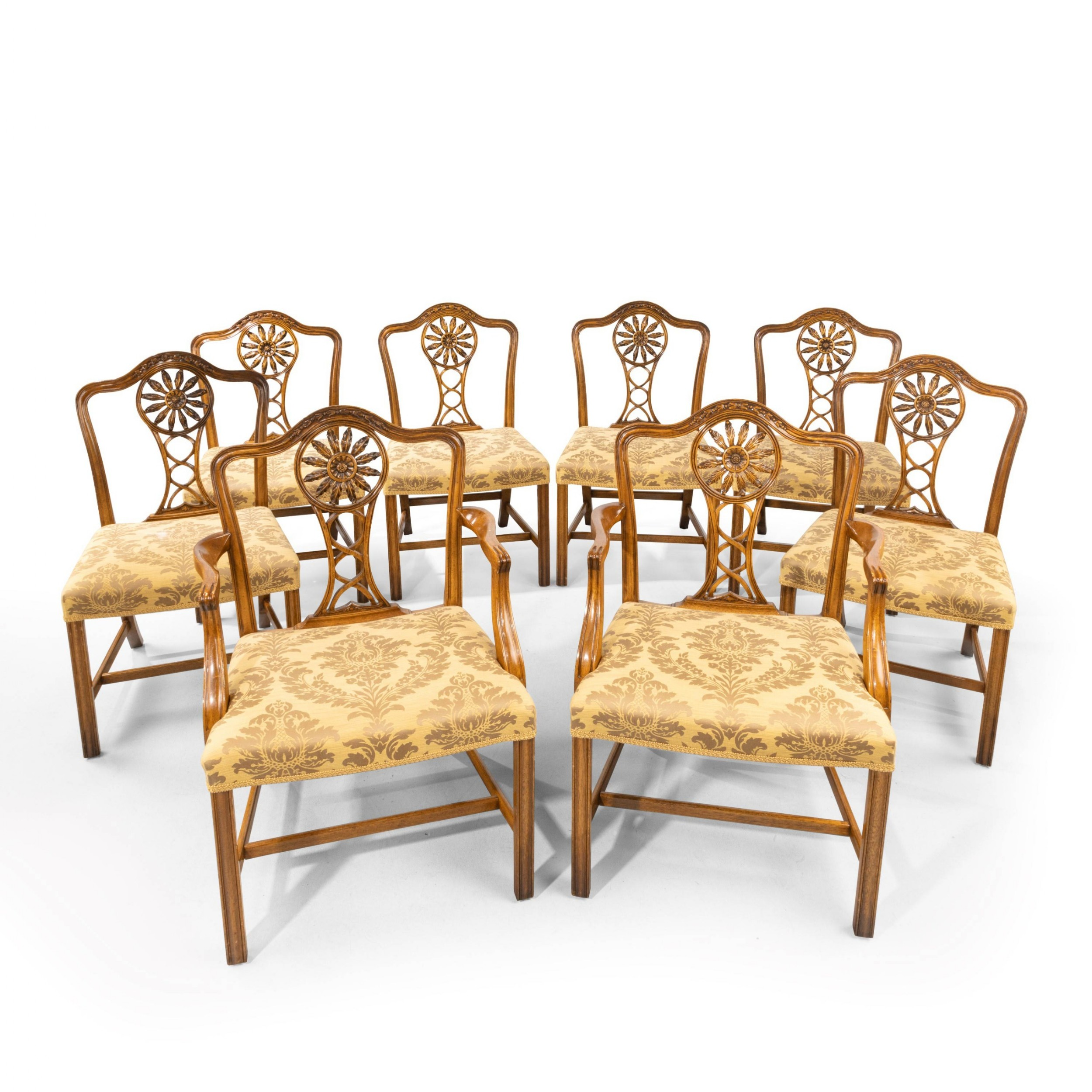 a most elegant set of eight 62 early twentieth century chippendale style mahogany framed chairs
