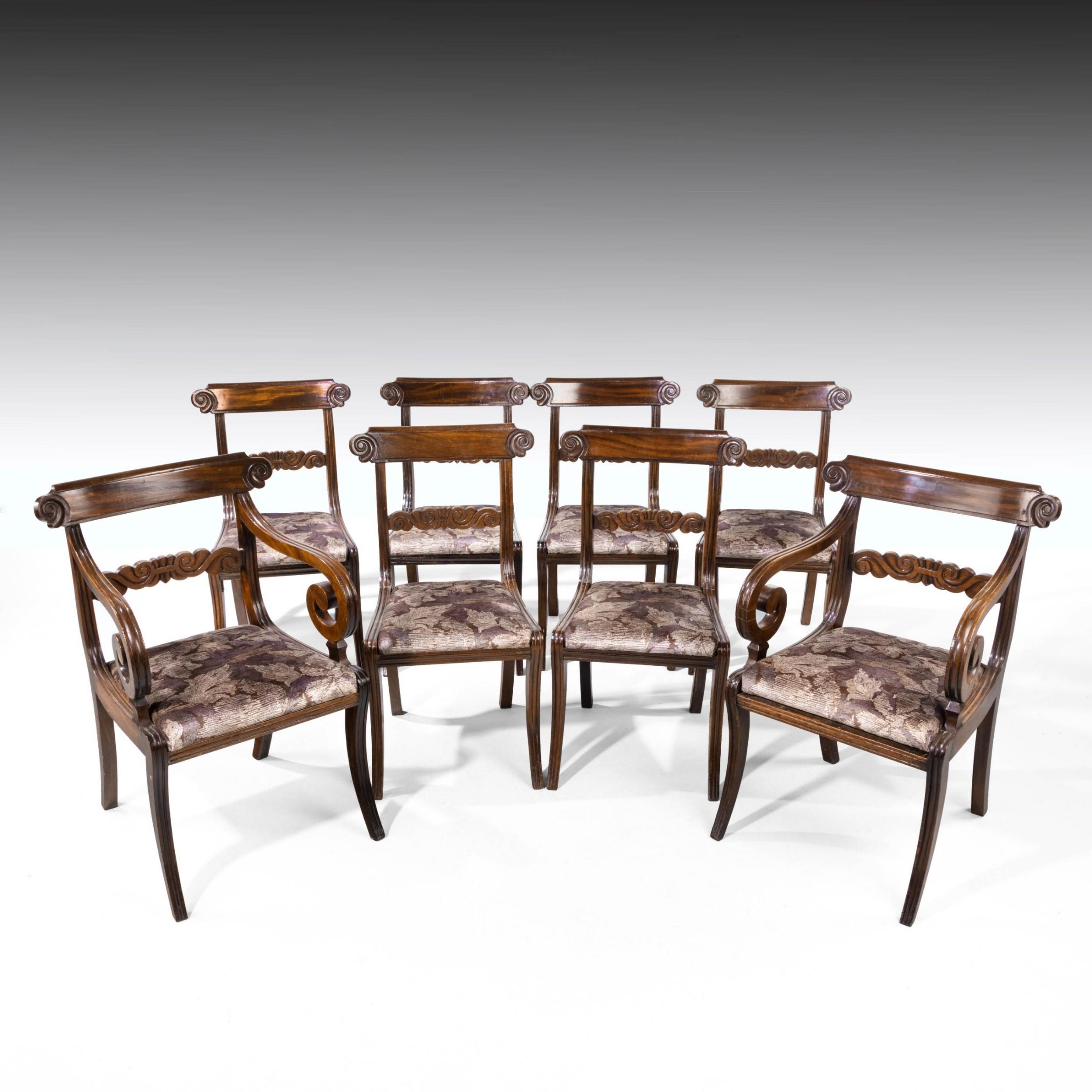 a good set 62 of regency period sabre legged mahogany framed chairs