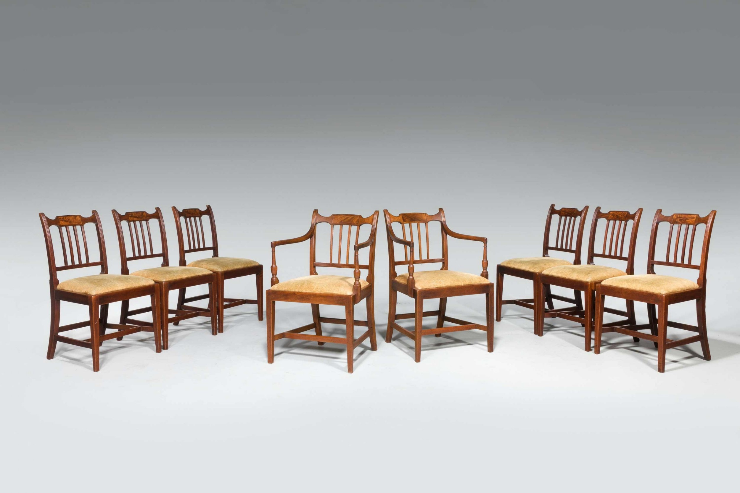 set of eight george iii period dining chairs six side chairs plus two armchairs