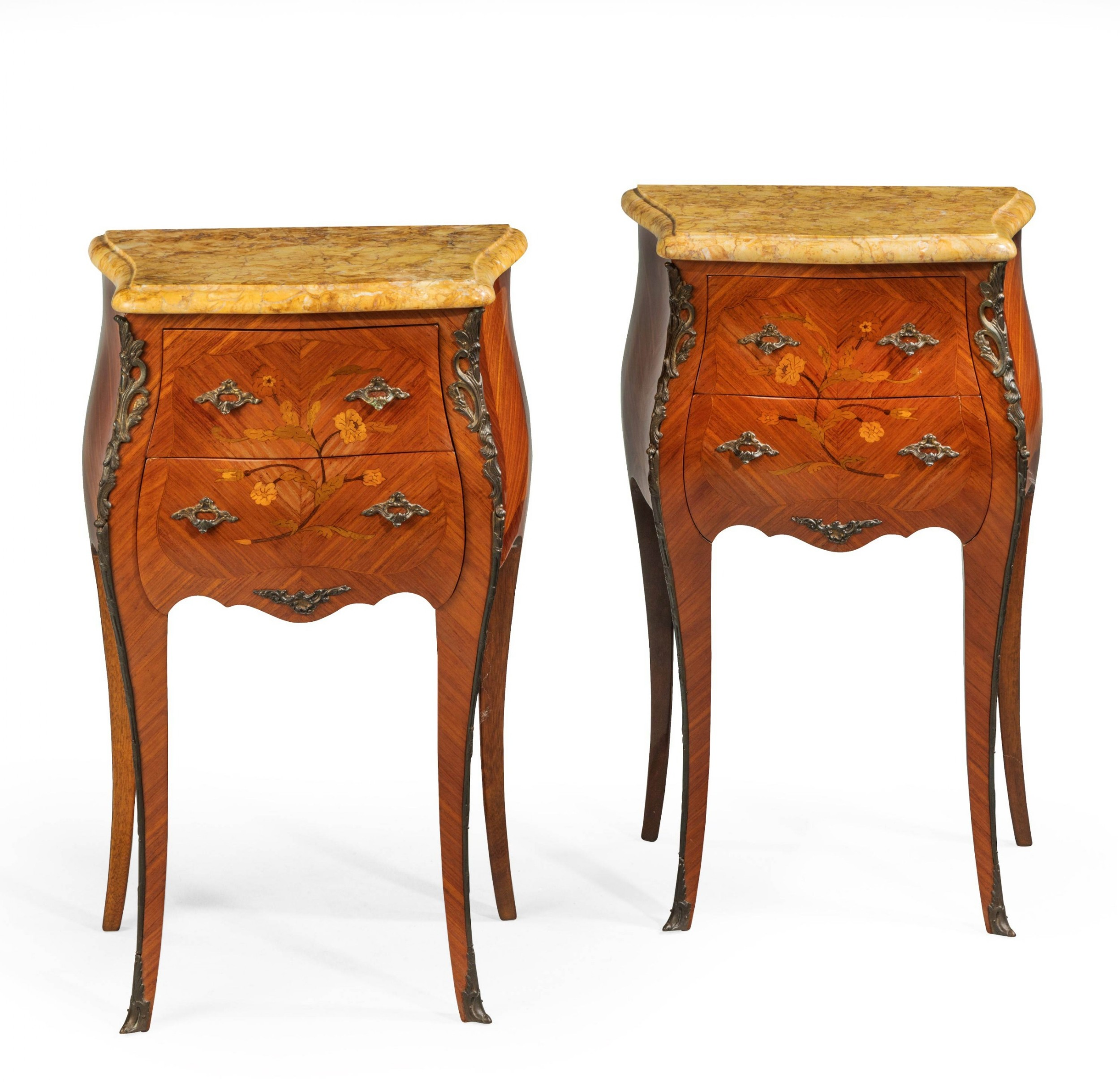 pair of french late 19th century marquetry petite commodes
