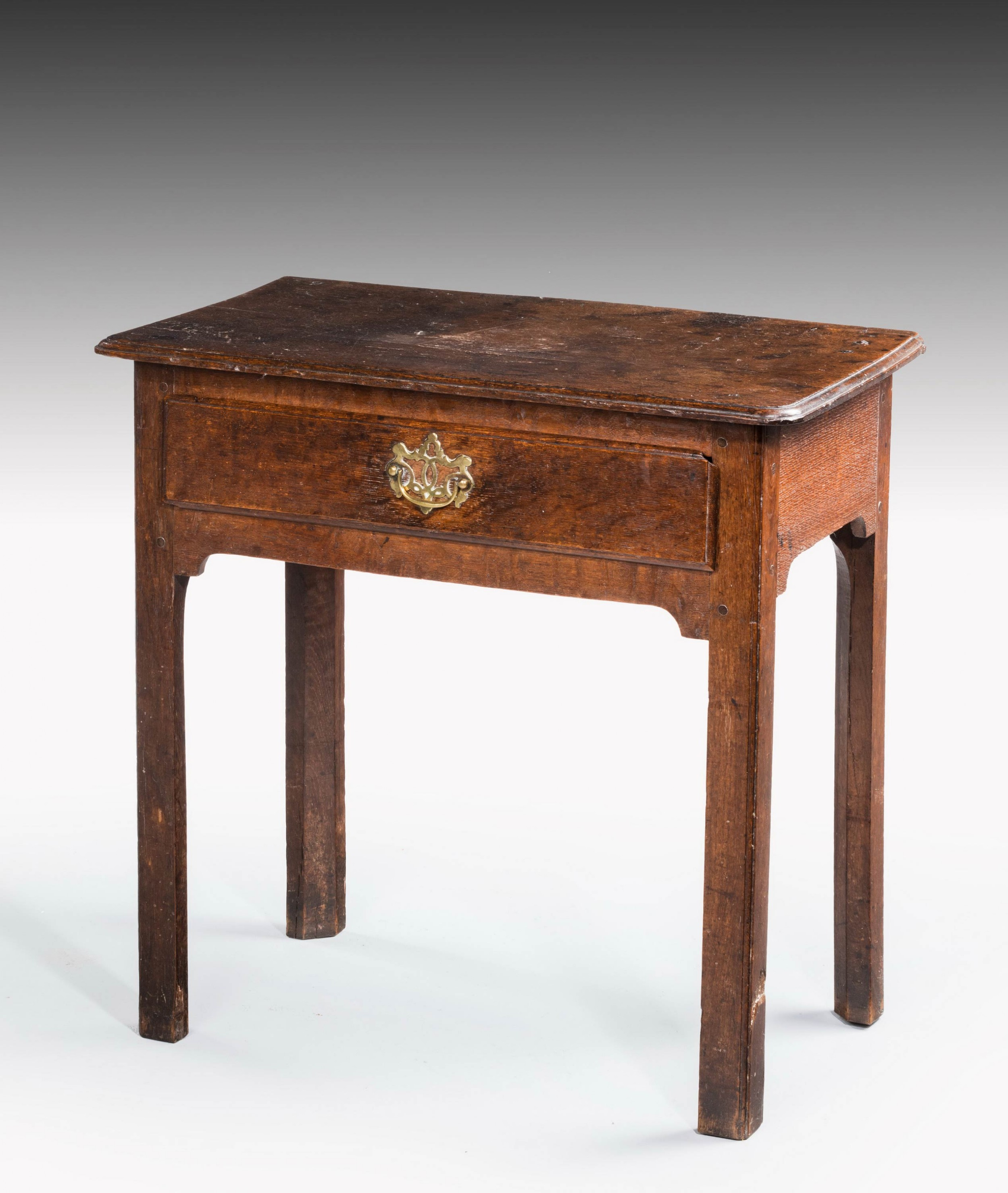 mid 18th century single drawer side table on square shaped support