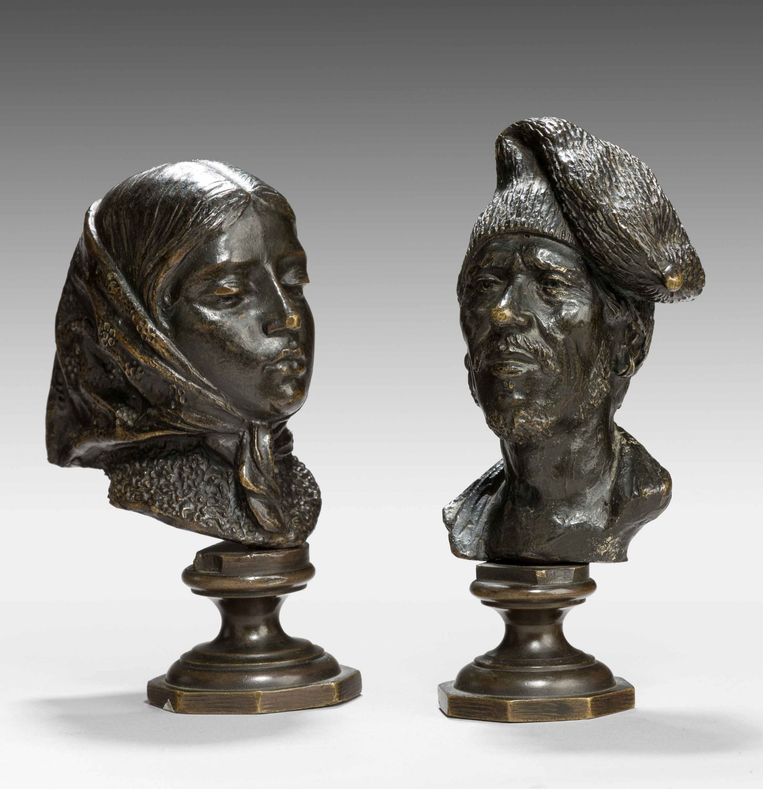 pair of mid 19th century french desk bronzes