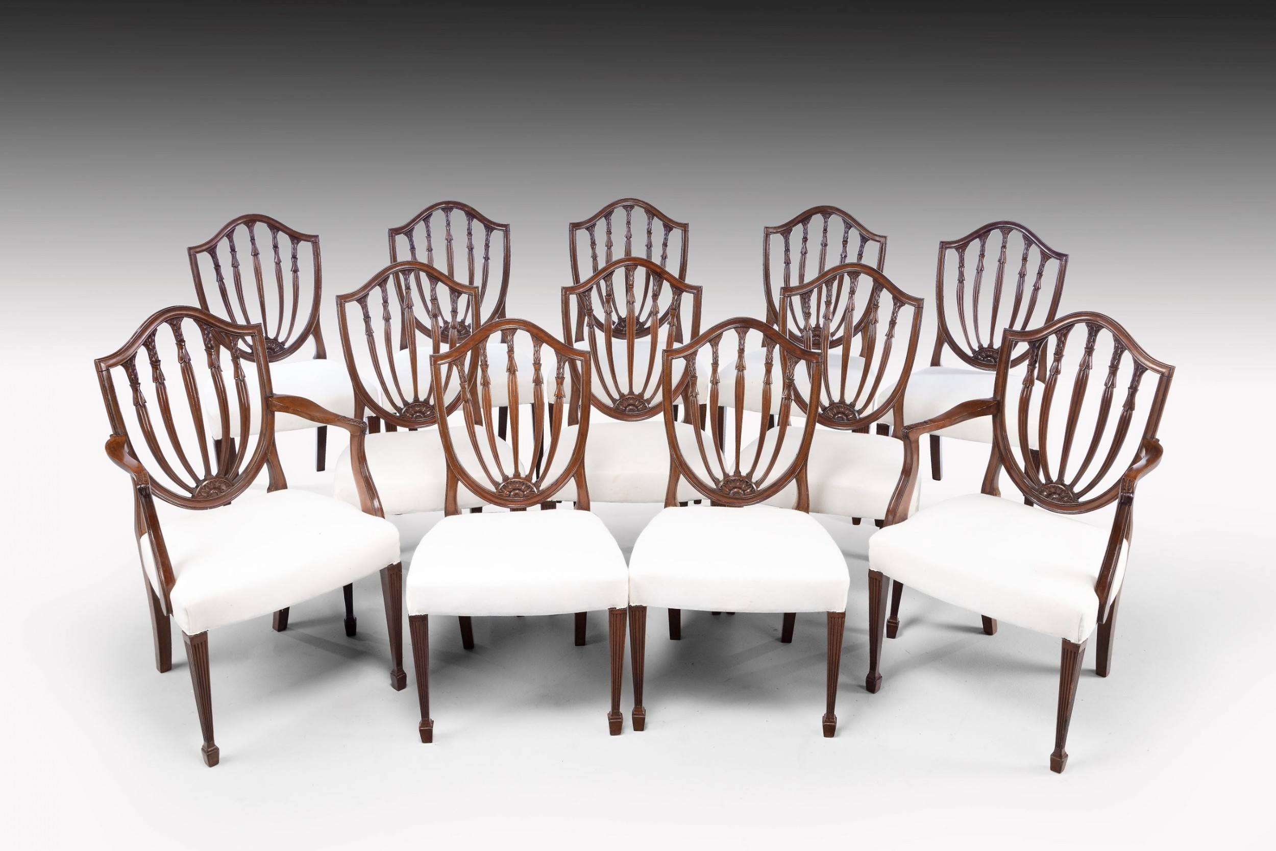 a fine early 20th century set of 12 102 classical hepplewhite style chairs