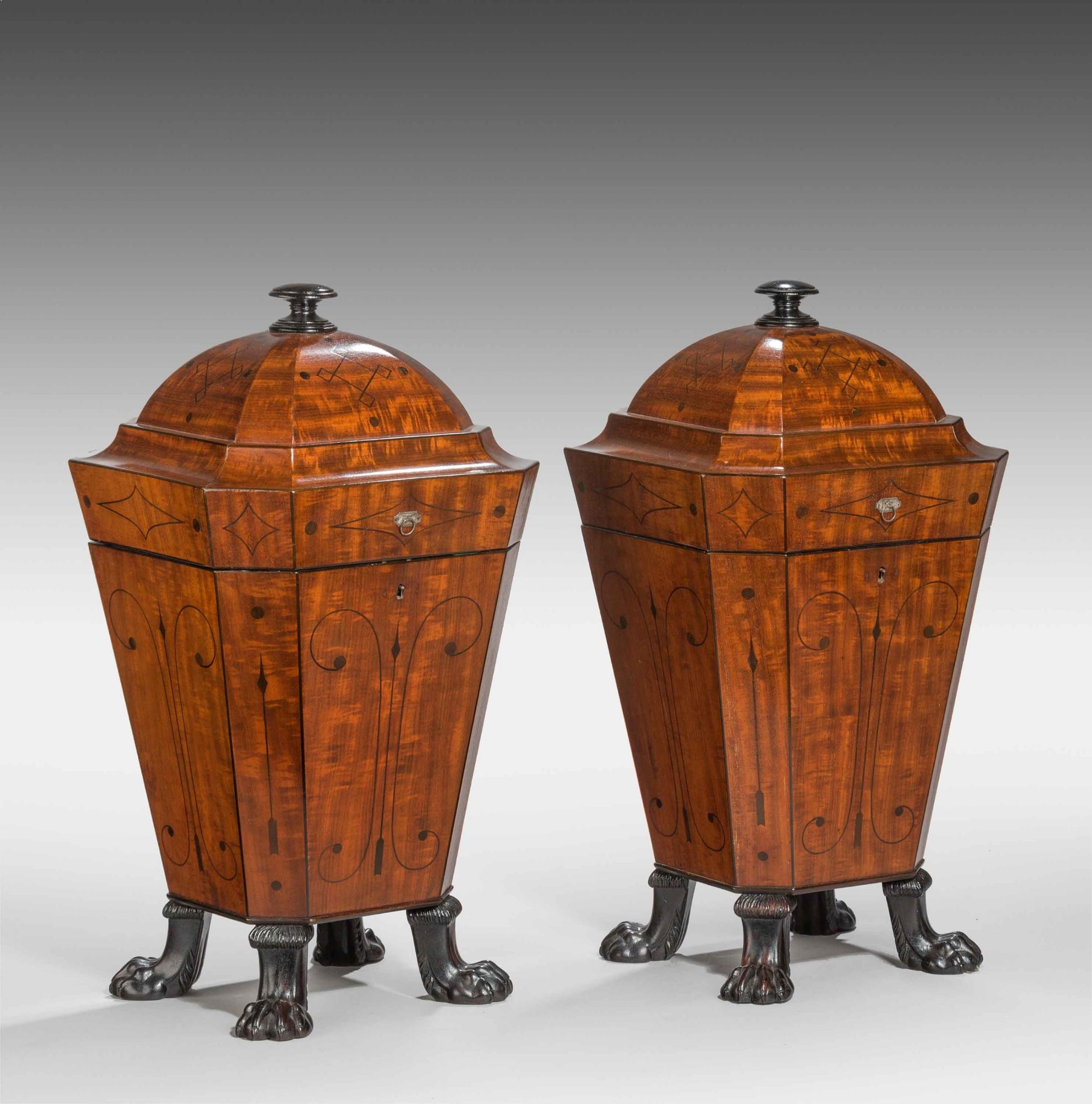 pair of regency period mahogany knife boxes
