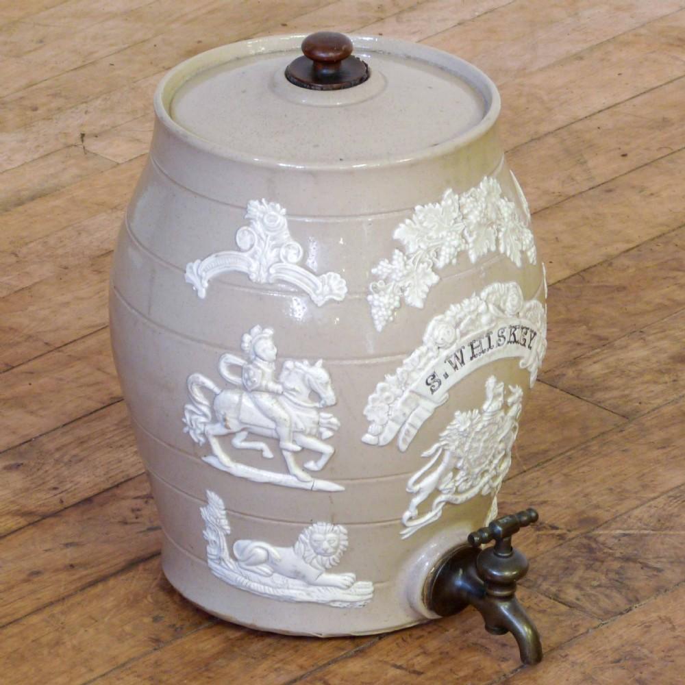 victorian earthenware whisky barrel