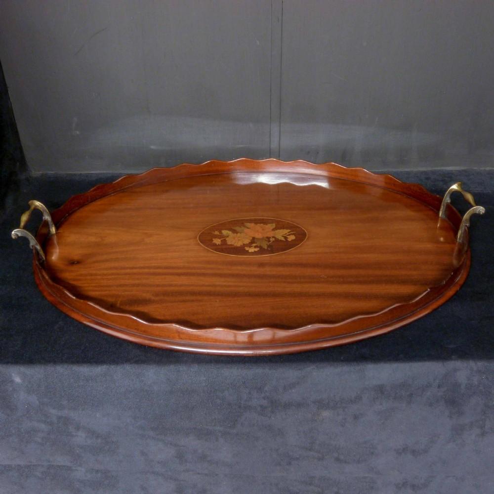 edwardian mahogany drinks tray