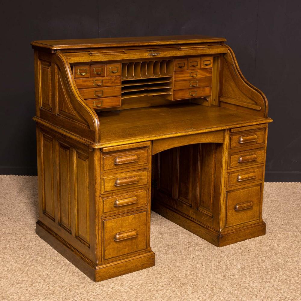 edwardian oak roll top desk by hll