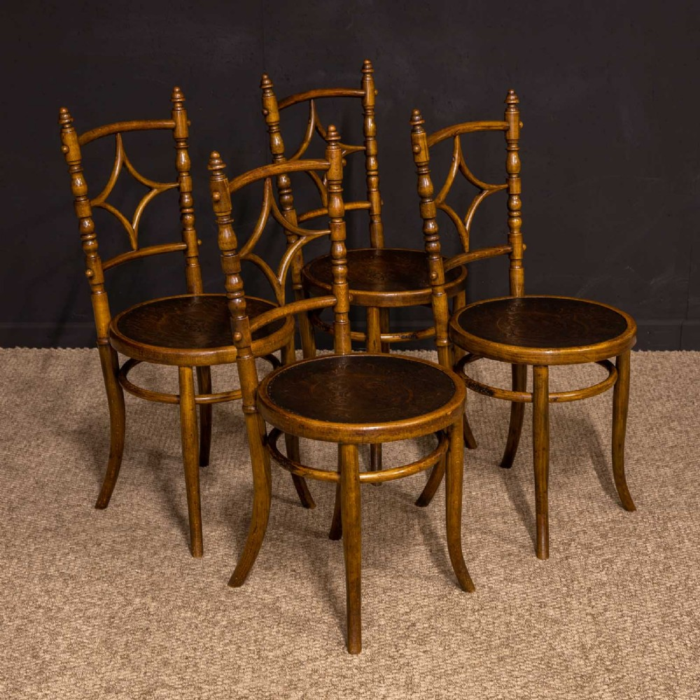 set of four edwardian bentwood chairs