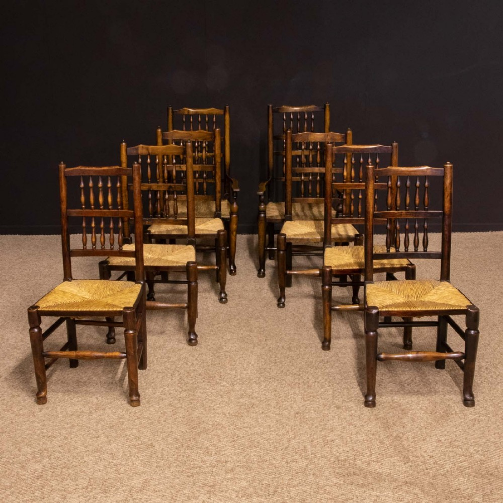 set of eight georgian lancashire spindleback chairs