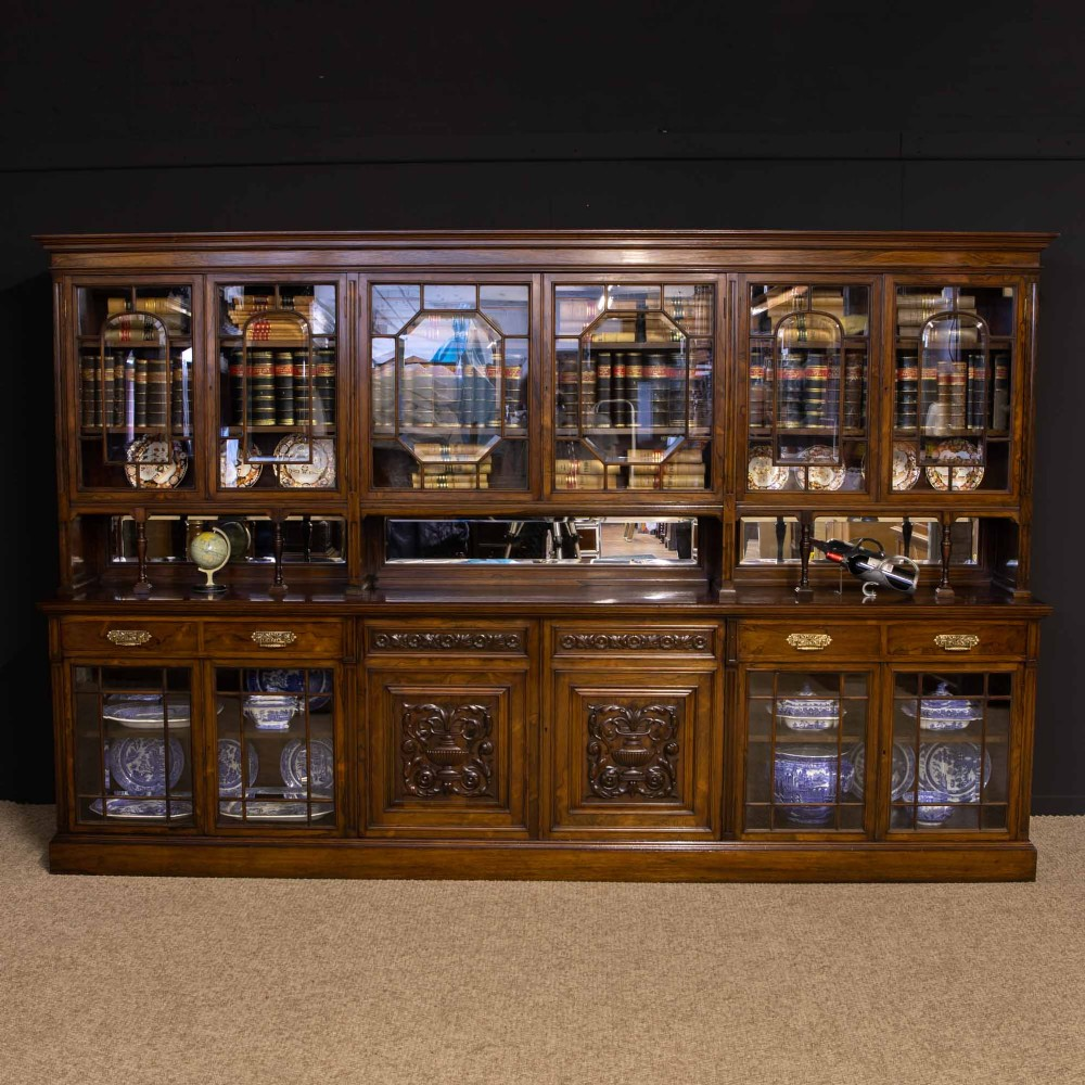 edwardian rosewood long bookcase from harrods manchester