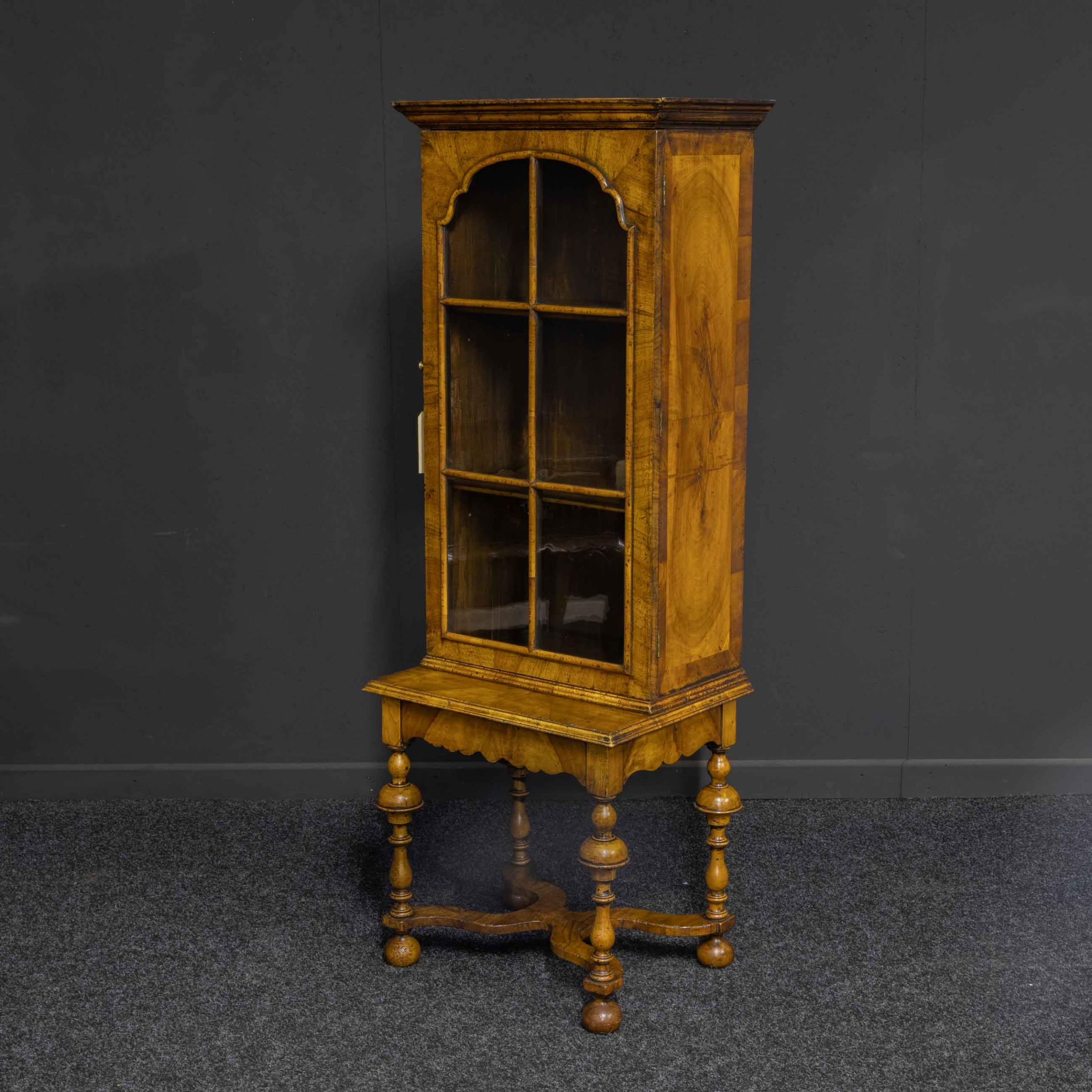 william and mary style walnut display cabinet