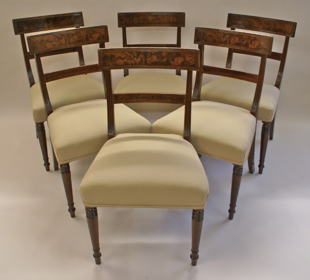 A Set Of 6 Regency Mahogany Dining Chairs Antique Photo
