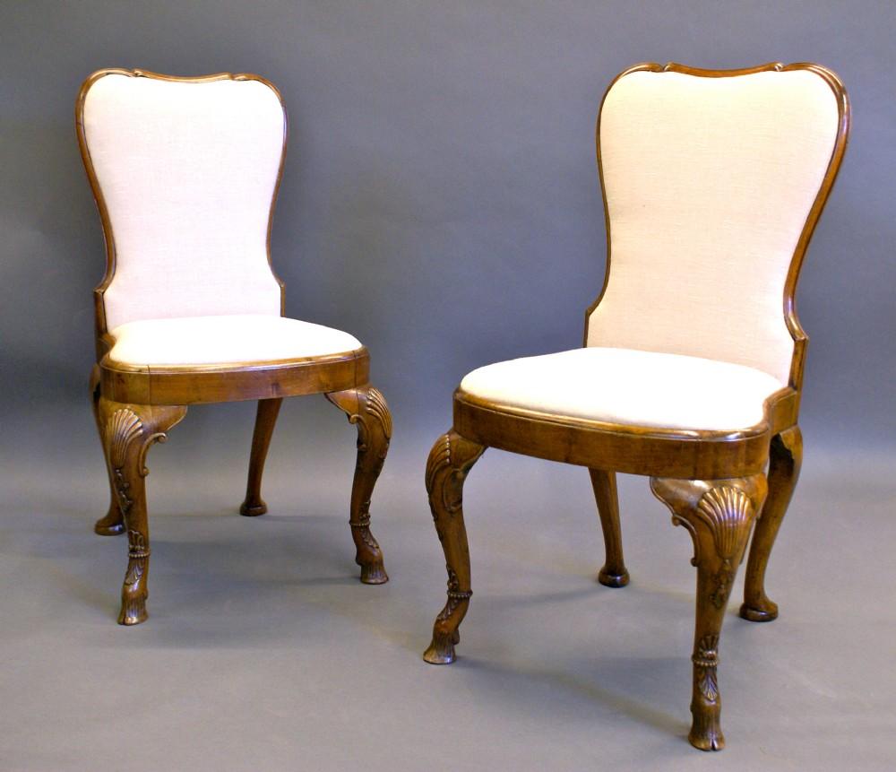a pair of late 19th century irish walnut side chairs
