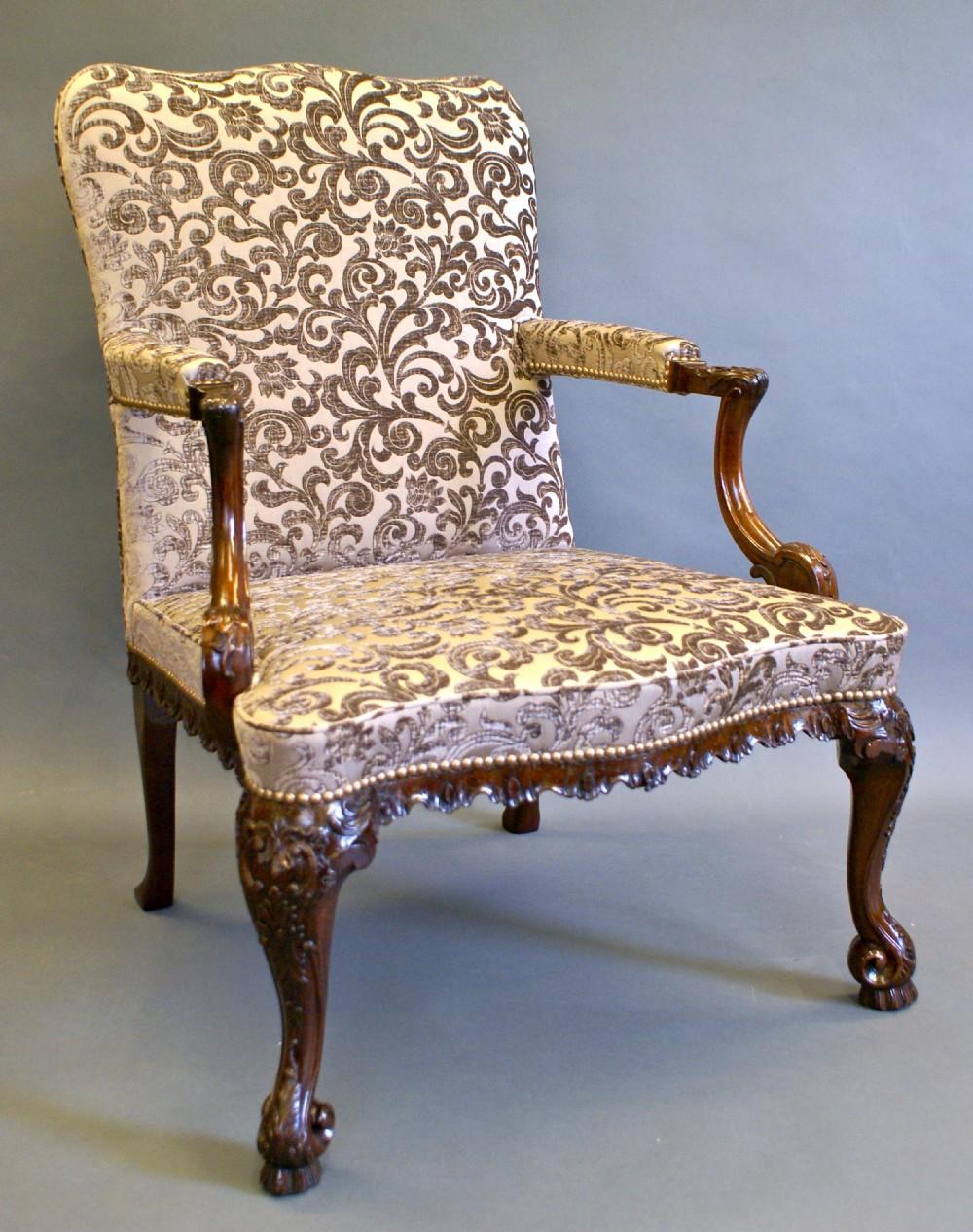 a superb 19th century gainsboroughlibrary arm chair