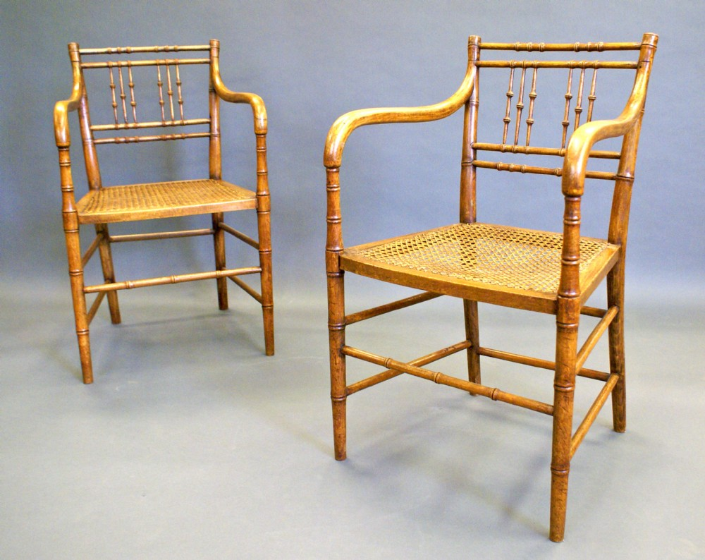 Bamboo arm chairs - A Pair Of Regency Faux Bamboo Arm Chairs