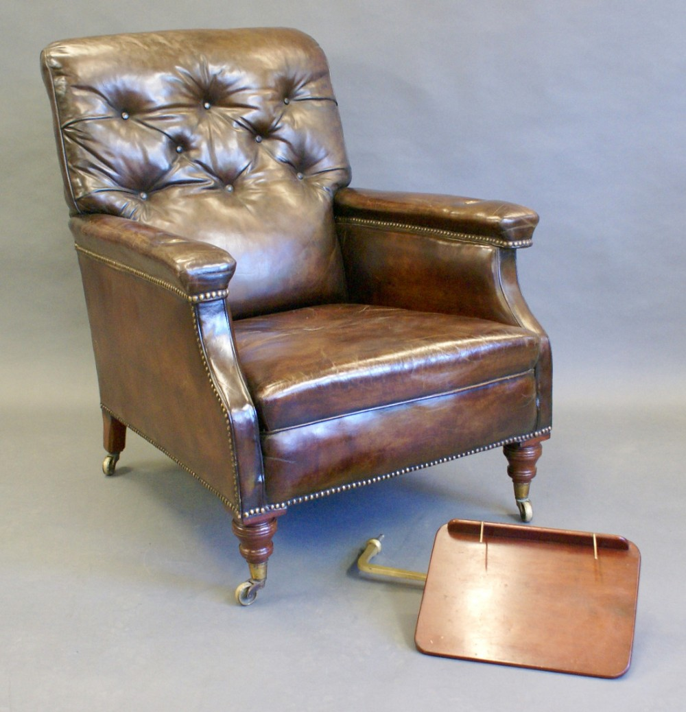 Thank you. - A Large Victorian Leather Reading Chair 466940 Sellingantiques.co.uk