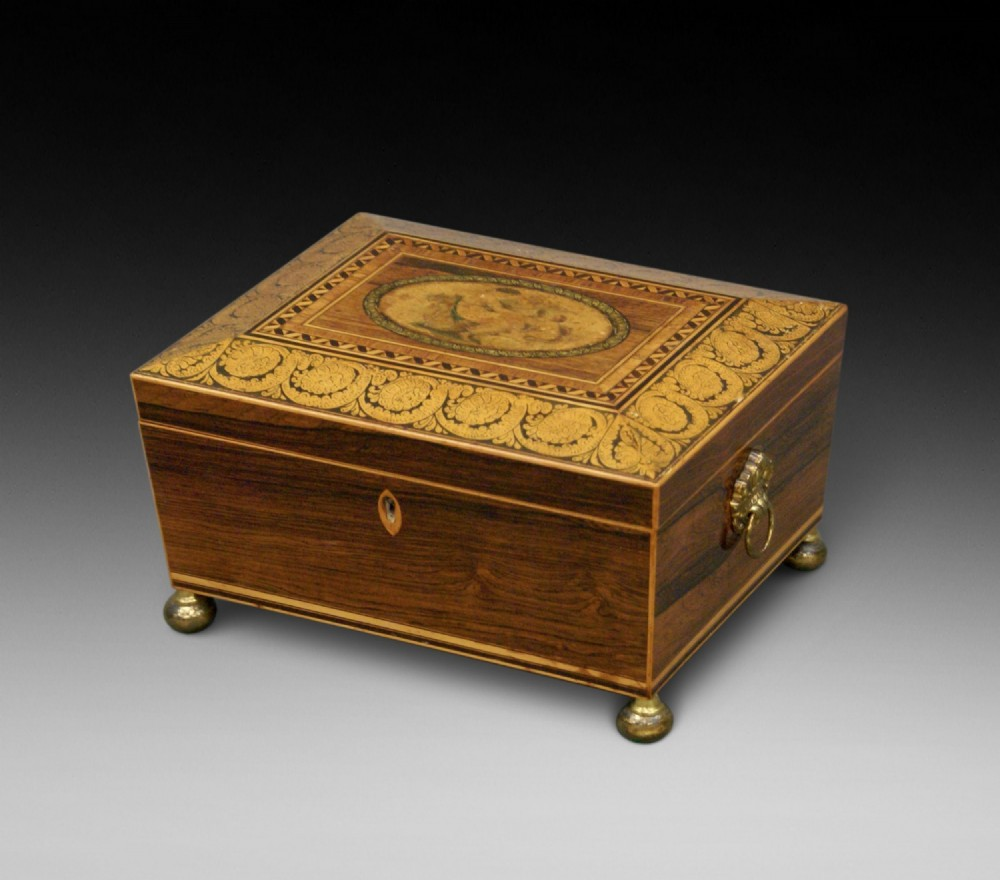 a regency rosewood sewing box