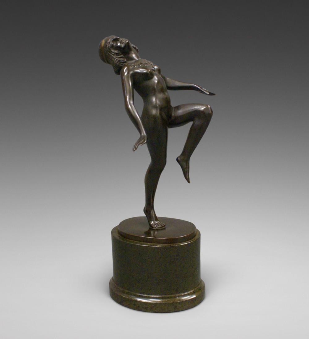 art deco bronze figure of a dancing nude