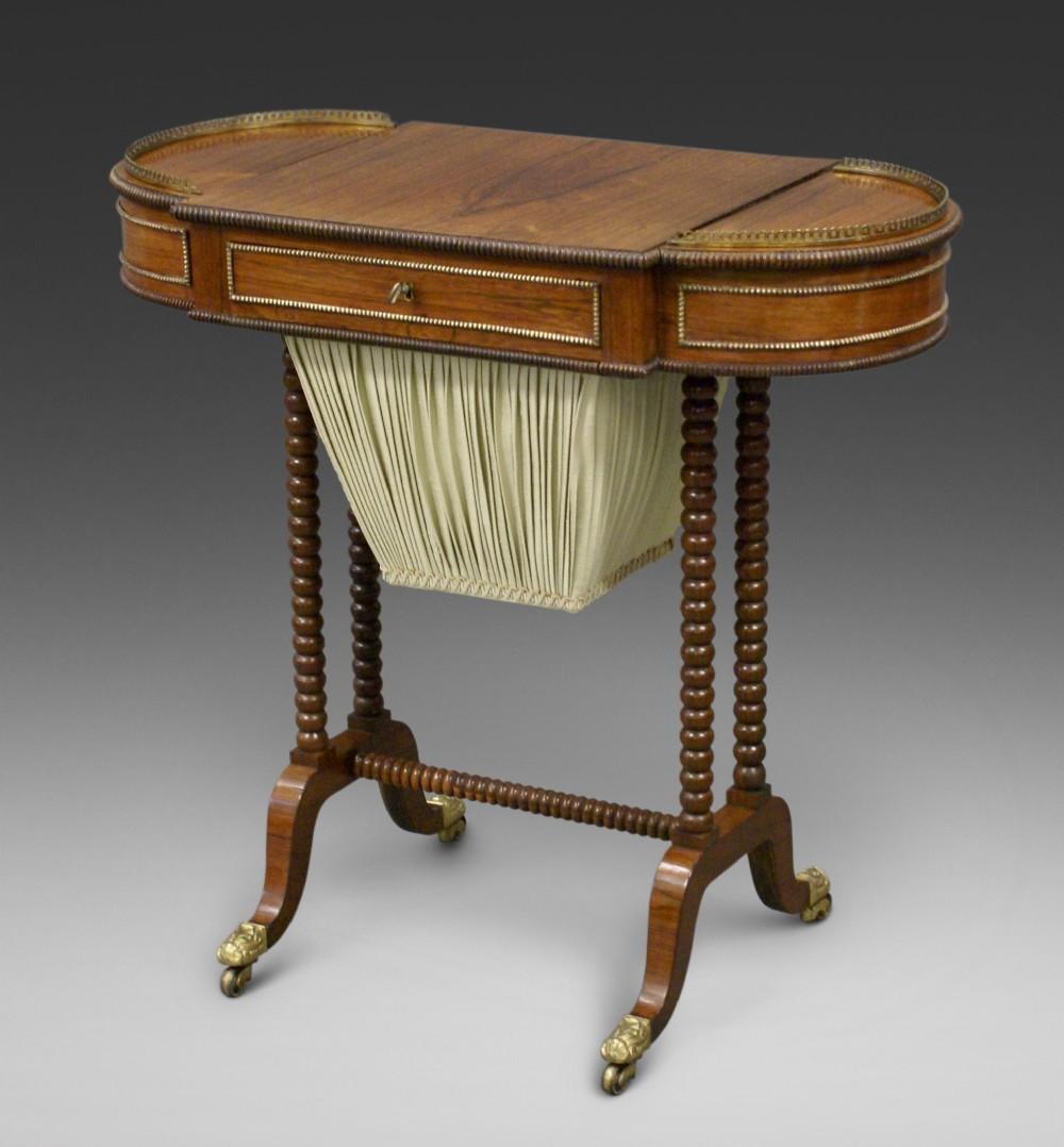 a late regency rosewood work table