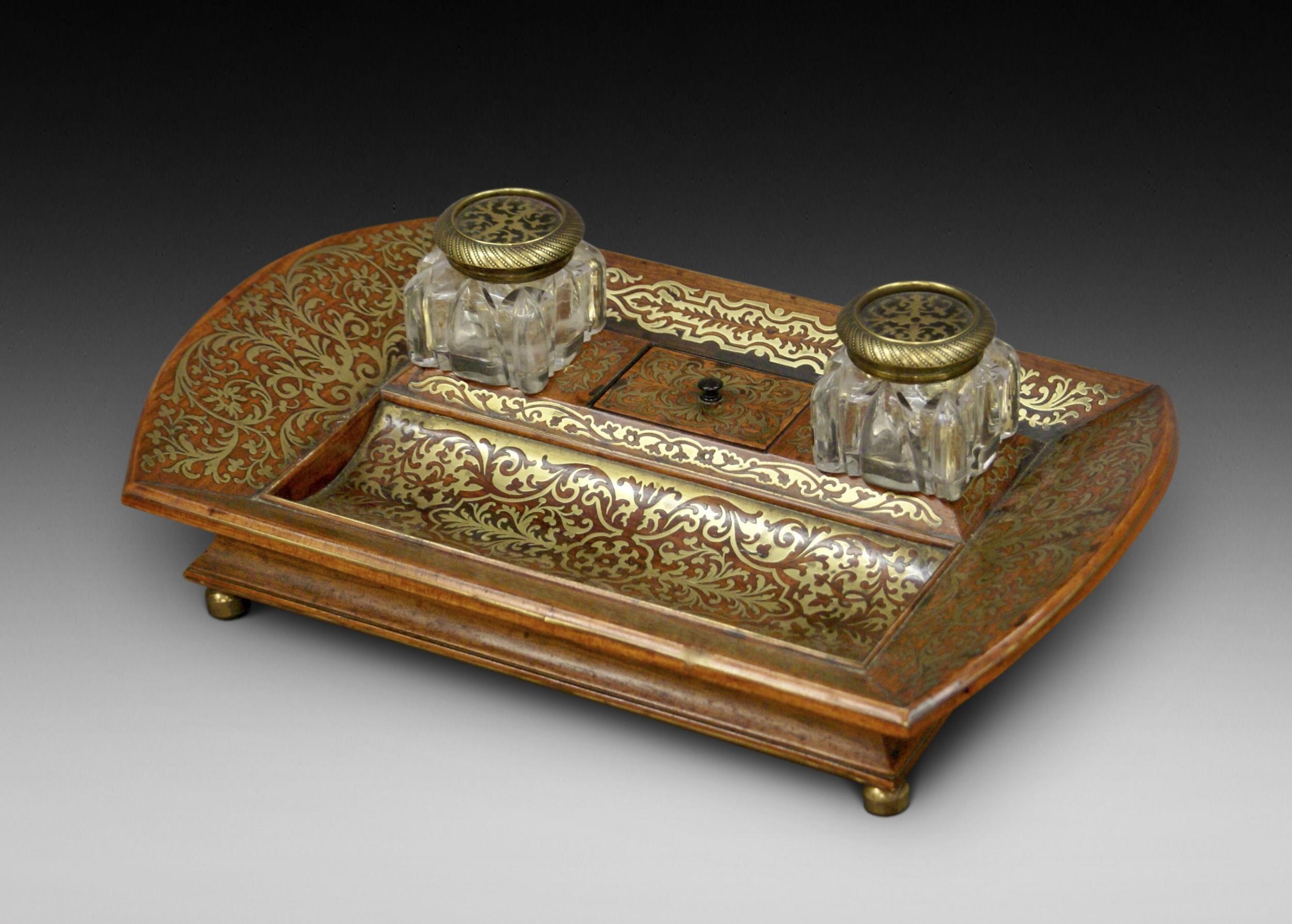 regency rosewood brass inlaid deskinkstand