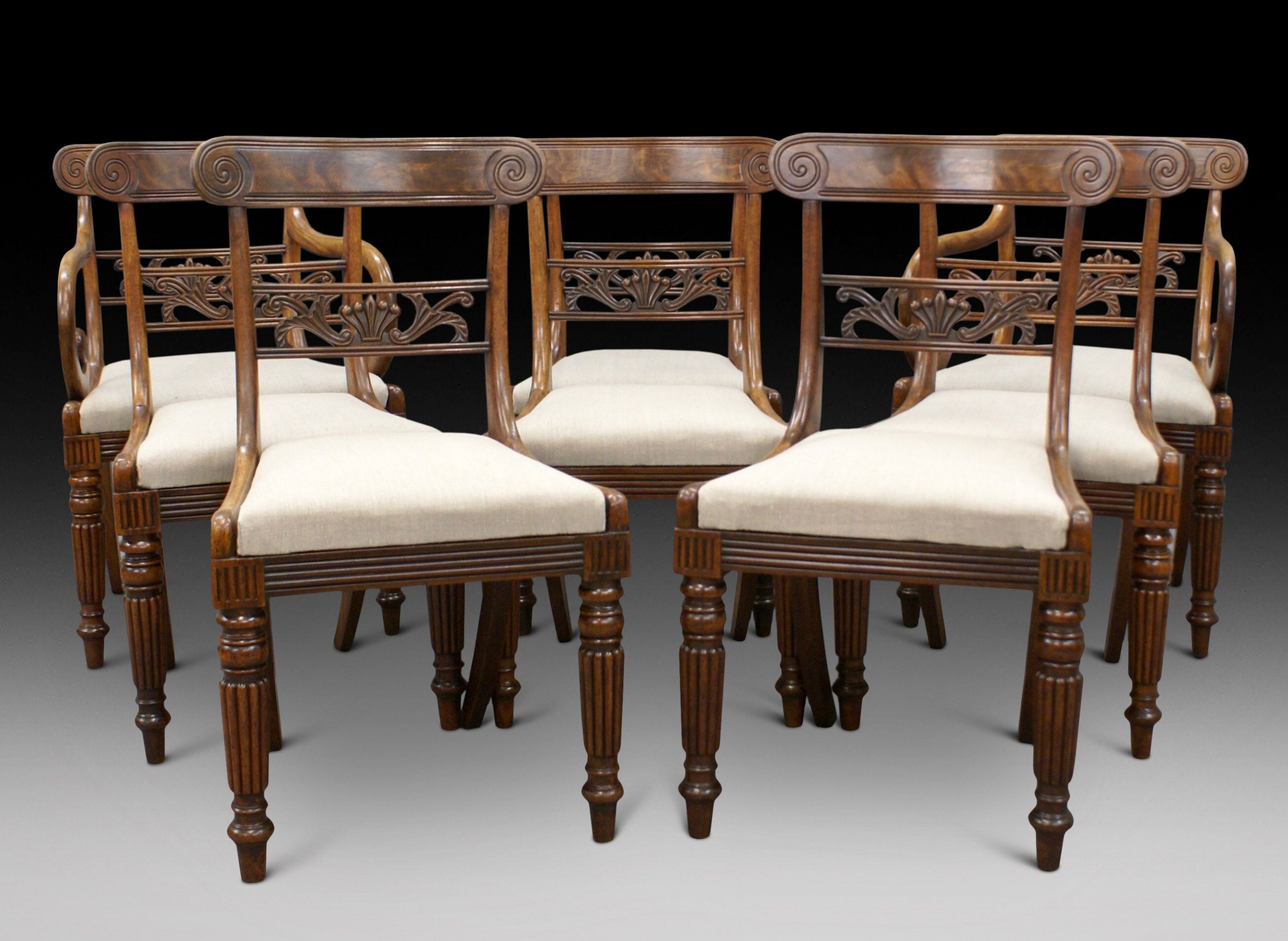 a fine set of 8 scottish regency dining chairs