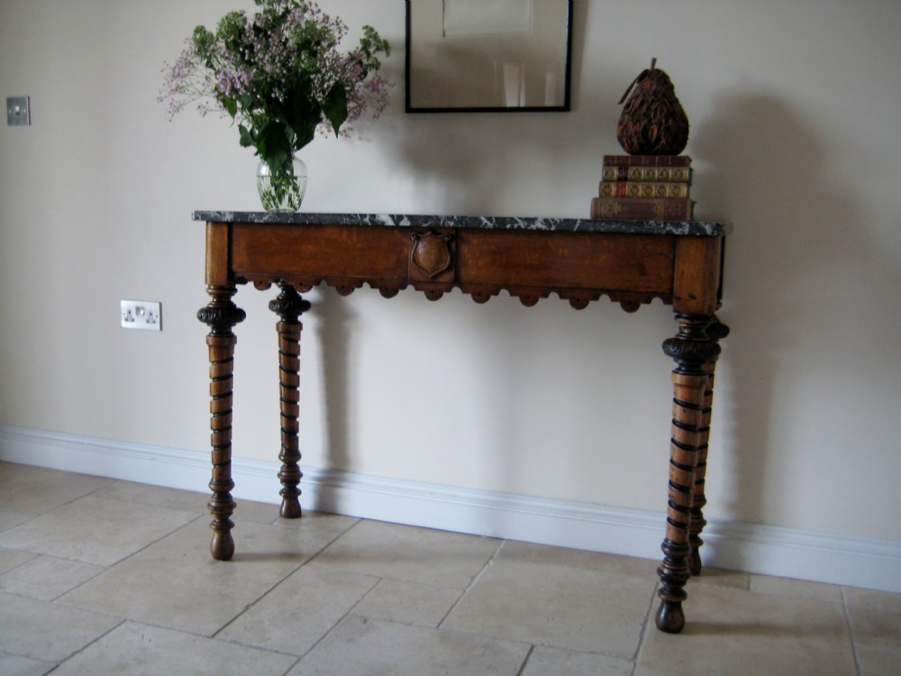 Amazing Victorian Light Oak Narrow Hall Or Console Table With Variegated Marble Top  Circa 1860. Antique Photo