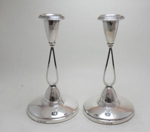 stylish pair of silver candlesticks birmingham 1960