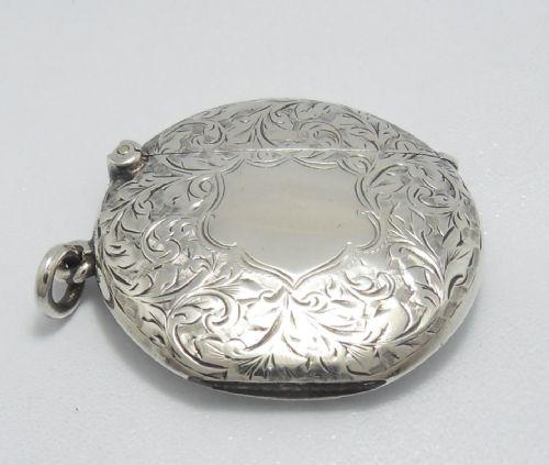 unusual edwardian circular silver vesta case