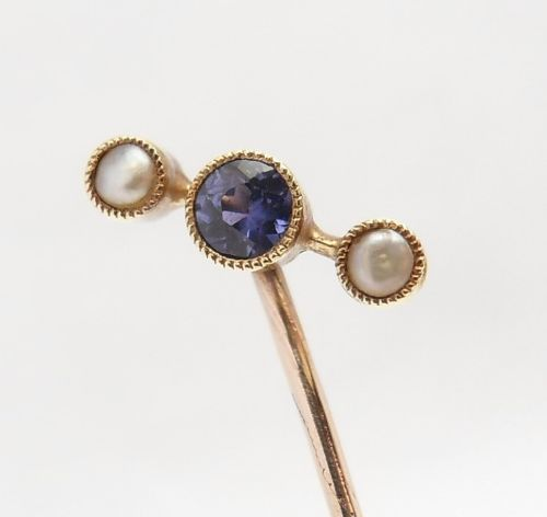 antique 15ct gold sapphire pearl stick pin