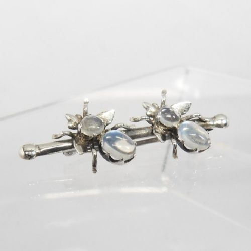 exquisite edwardian moonstone set insect brooch