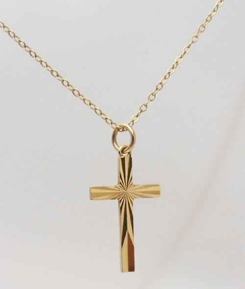 9ct gold cross chain hallmarked birmingham 1967