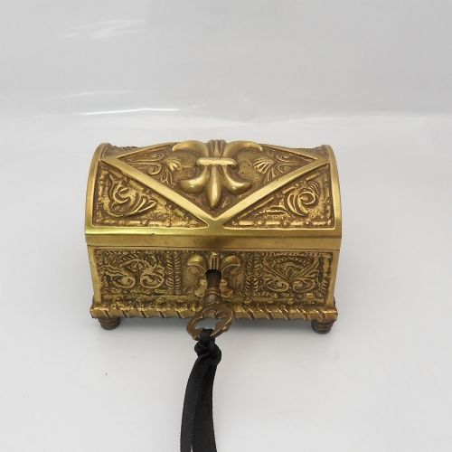 exquisite brass antique french jewellery casket