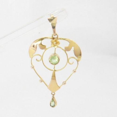 antique art nouveau 9ct gold peridot set pendant