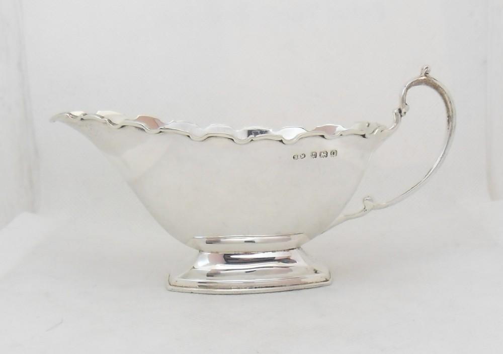fine silver sauce boat birmingham 1913