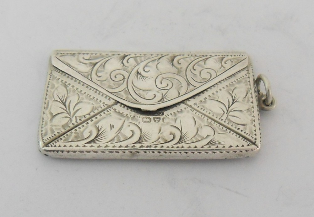 rare silver double envelope form stamp case chester c1914