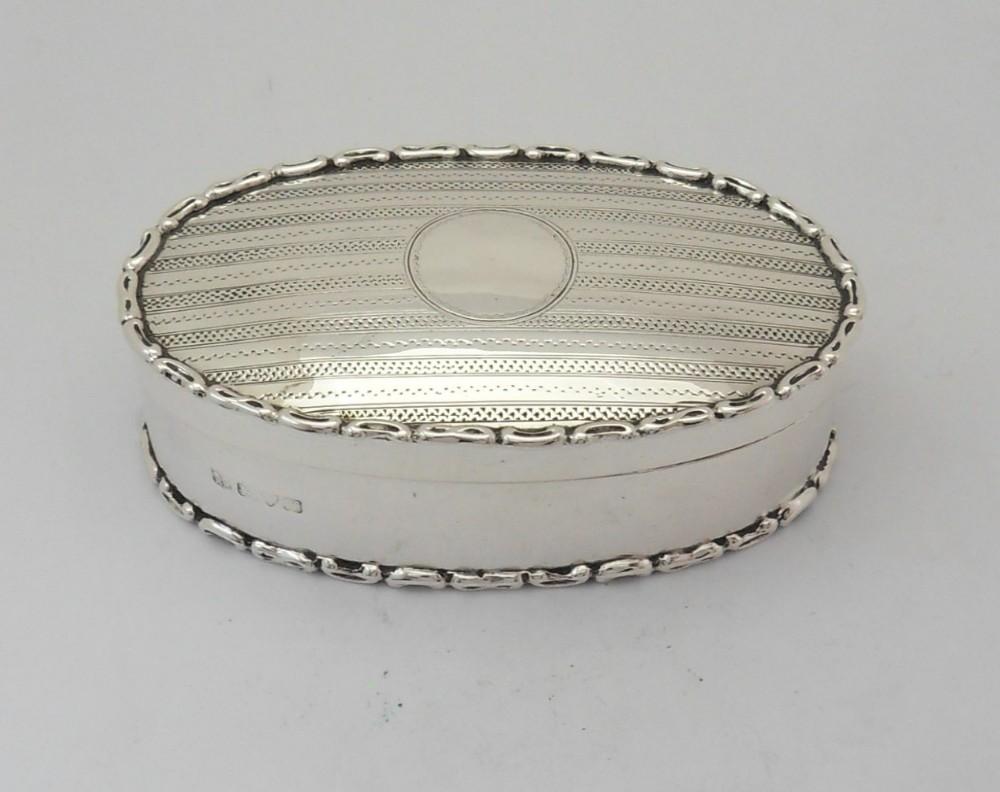 fine sterling silver oval trinket box chester 1910