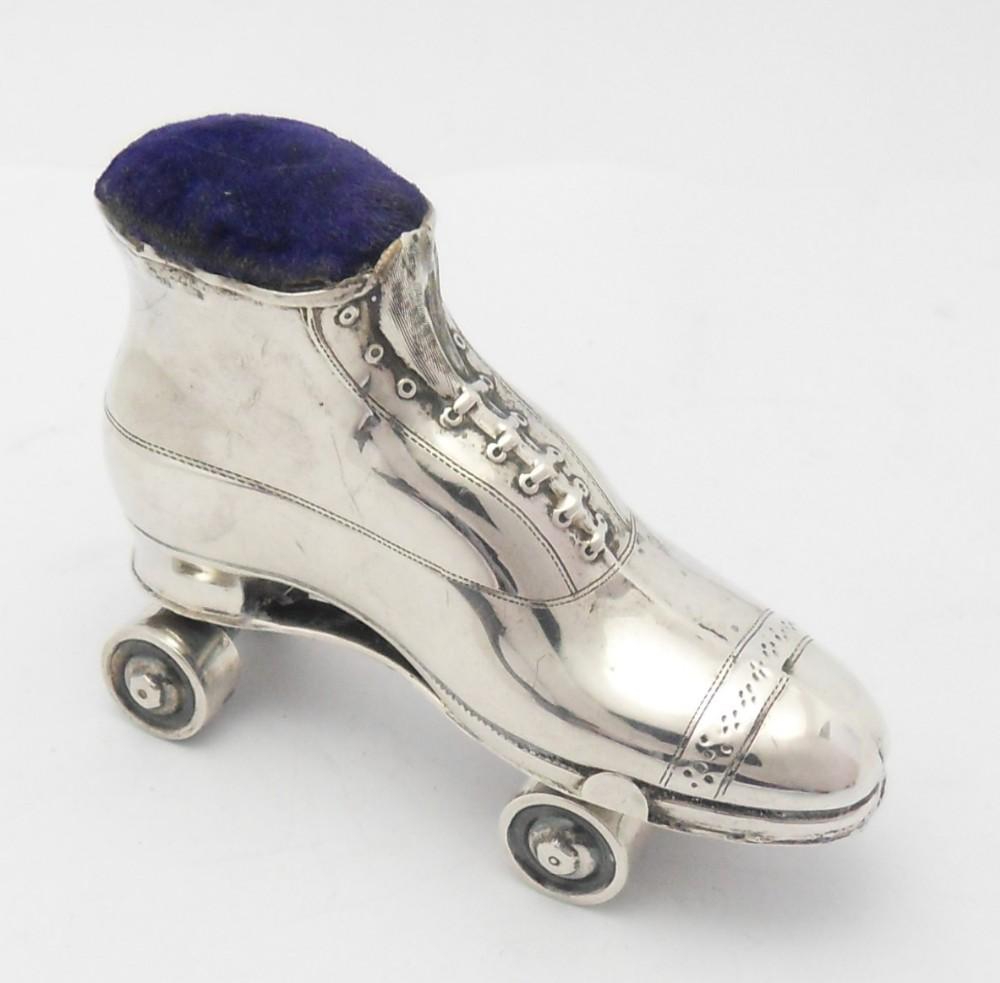rare edwardian silver roller skate boot pin cushion
